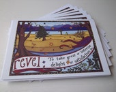 Revel: Notecard 5 Pack, original cards & envelopes, blank inside, original art from San Juan Islands