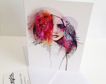 Aisha - summer edition - greeting card by Holly Sharpe // fashion illustration