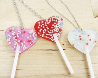 Heart Lollipop Necklace / Red Pink or Blue | SALE