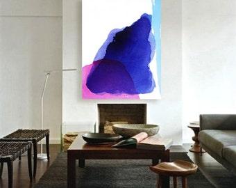 "Large Original Acrylic Abstract Painting, blue, purple, pink, 43 x 55"" ""Deep Water - Evening Sun"" mid century inspired art, modern painting"