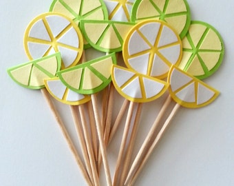 12 Citrus Lemon & Lime Party Picks / Cupcake Toppers / Cocktail Sticks / Food Picks