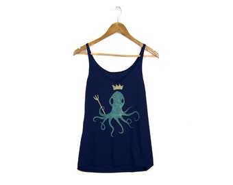 King Octopus Tank - Oversized Scoop Neck Strappy Swing Tank Top in Deep Navy Mint and Gold - Women's Size S-2XL