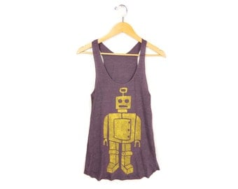 Quizzlezort the Robot Tank - Racerback Scoop Neck Long Swing Tank Top in Heather Plum & Yellow - Women's Size XS-2XL