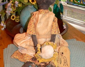 Primitive Sunflower Susan Doll, Primitive Decor, Home Decor, Primitive Doll, Prim Doll, Primitive Home Decor, Handmade, Rag Doll, HAFAIR