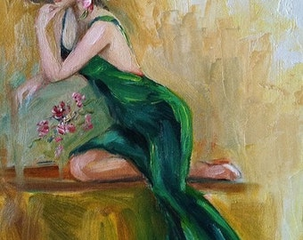 Giclee Print of original oil painting, woman in green, Glamour woman, figure, Impressionist Art