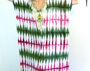 Vintage 70s Kaftan/ Cotton Caftan/ Pink Army Green Tie Dye/ African Dashiki/ Boho Coverup/ Hippie Cotton Maxi Dress/ 1970s Ethnic Loungewear