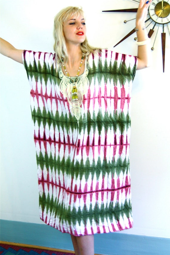 Vintage 70s kaftan, tie dye dress, African dashiki, Nigerian hippie, 1970s caftan, ethnic loungewear, gypsy caftan, boho coverup, boho dress