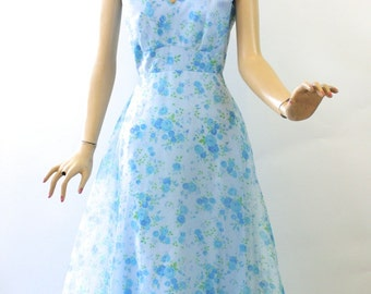 Vintage 60s Spring Formal Dress Light Blue Chiffon Floral Print Gown Size 6 Bust 34