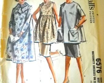 Vintage 1960's McCalls Pattern 6576 Misses' Maternity Dresses or Tops