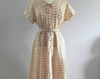 Vintage Plus Dress 40s mocha and cream Embroidered Eyelet Frock XL - on sale