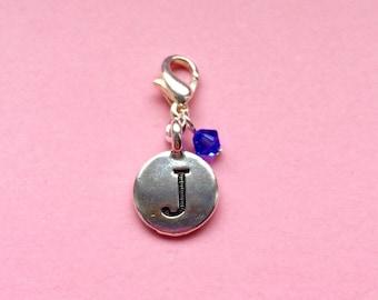 Bride bridesmaid wedding gift, initial / letter Swarovski crystal braclet clip charm, personalised gift, teacher student gift, UK