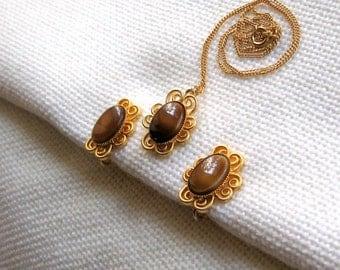 Celebrity Necklace Earrings Set Signed Vintage Jewelry Mocha Glass