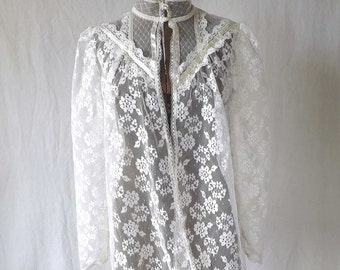 70s Jessica McClintock Lace and Ribbon Blouse Shirt Sheer size small