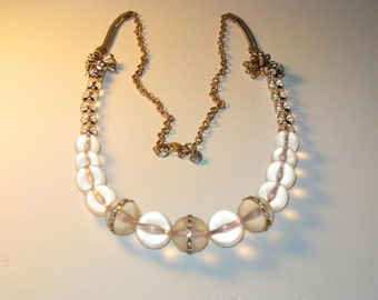 Vintage Ann Taylor Loft Long Clear Lucite Crystal Necklace (N-1-3)