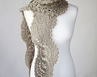Crocheted lace scarf,  women, color latte, gift scarf, femine