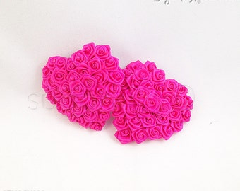 SAMPLE SALE Fuchsia Heart Shaped Ribbon Rose Nipple Pasties - Size M - SugarKitty Couture