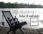 Black White Outdoor Pillow Cover, Modern Geometric Colorblock, Decorative Color Block Throw Pillow, Art Deco, Sunbrella Cushion, Mazizmuse
