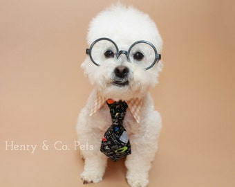 Dog tie and shirt collar- dog tie- math geometry tie