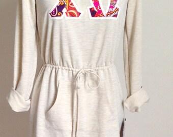Chi Omega Letter Shirt Sweatshirt Dress in Vera Bradley, Hoodie - Small
