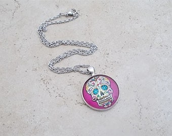 Sugar Skull Necklace, Pink Sugar Skull Pendant, Sugar Skull Jewelry, 18 inch Necklace, Day of the Dead Jewelry, Dia De Los Muertos,