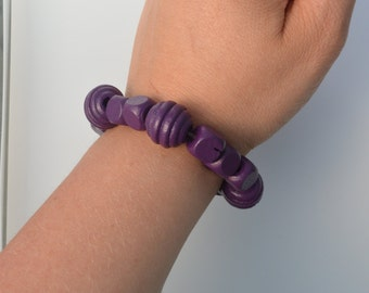 Purple Wooden Bracelet (one size stretch to fit most)