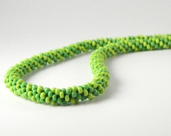 Spring Green Striped Kumihimo Necklace