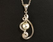 Pearl Pendant Chain Necklace, Asymmetrical Wire Sculpture Pearl Pendant