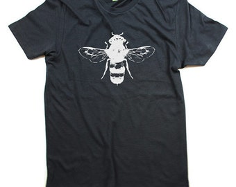 Honey Bee Shirt, Organic Cotton, Mens Honey Bee T-Shirt, Bees, guys, Grey Organic Cotton T-shirt - Small, Medium, Large, XL, XXL - Clothing