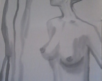 Female nude brush painting on silk. Sumi style figural silkpainting, unframed. Black and white art with blond slim ballerina type woman
