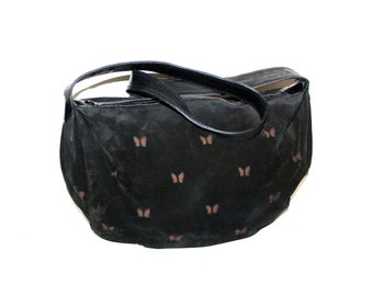 BOTTEGA VENETA Vintage Oversized Butterfly Hobo Black Suede Brown Cut Out Butterfly Tote - AUTHENTIC -