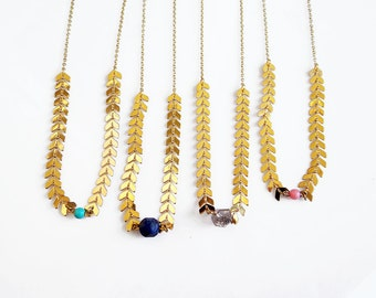 Dainty Crystal Necklace, Gold Herkimer Diamond Necklace, Lapis Necklace, Fishbone Chain Necklace,