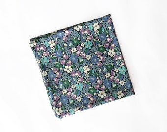 Janis - Blue Floral Pocket Square