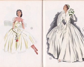 1954 Vintage Lutterloh The Golden Rule Sewing Pattern Drafting Book Over 250 Patterns including Bridal Gowns Measuring Rule INCLUDED