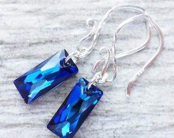 Bermuda Blue Crystal Earrings, Swarovski Dangle Earrings, Sterling Silver, Column Crystal, Prism Earrings, Ocean Blue, Beach Jewelry