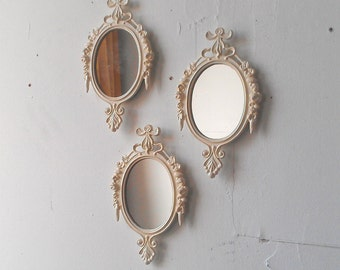 Oval Wall Mirror Set In Glossy Vintage White, Small Decorative Mirrors,  Vintage Wedding,