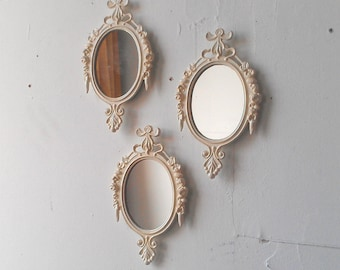 Small Decorative Wall Mirrors ornate white mirror decorative vintage oval wall mirrors