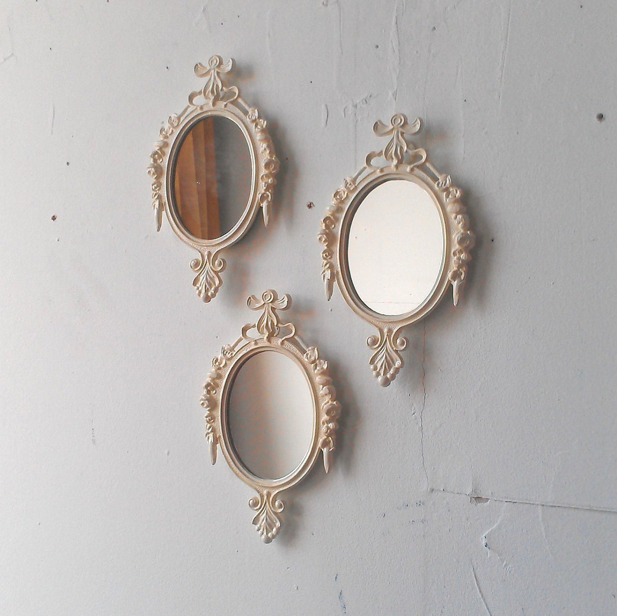small white wall mirror