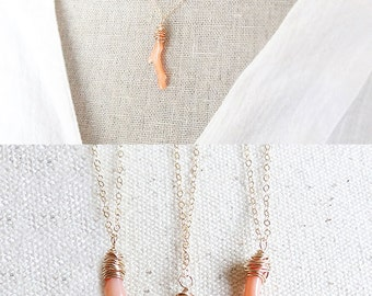 Coral Branch Necklace - Vintage Coral Jewelry - Coral Pendant - Natural Coral - Bridesmaid Necklace - Beach Jewelry