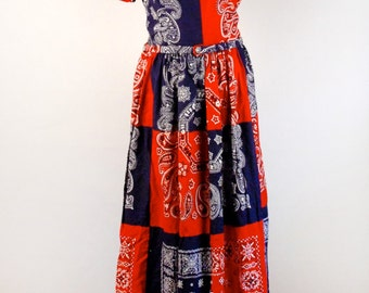 Vintage Red and Blue Handkerchief Print Dress