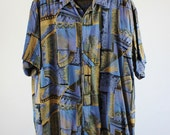 SALE - Vintage Modern Art Print Casual Dress Shirt - Mens Size Medium