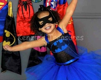 Blue Bat Girl Tutu Dress Costume ~ Includes Mask, Cape Optional ~ Size 2T to Girl's Size 6
