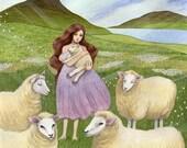 Valley of Sheep / 8x10 Fine Art Print / Mountain Girl, Lamb Art / Watercolor Illustration Print, Nursery Art