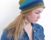 Yellow and blue slouchy beanie  Hand knitted slouch beanie Winter knit hat