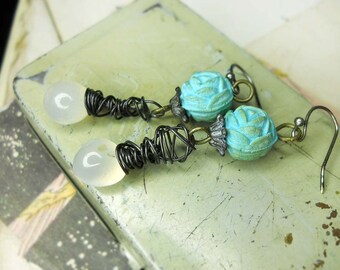 Rustic Beaded Earrings - Vintage Roses & Quartz Drops - Faded Blue Rosaries, White Glowing Stone, Steel Wire Wrapping