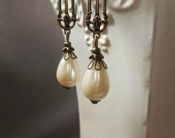 Downton Abbey Jewelry - Lady Cora Earrings - Pearl Earrings - Edwardian Jewelry - Dangle Earrings - Victorian Jewelry - Womens Jewelry