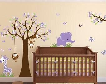 Nursery Wall DecalAnimal Wall DecalVinyl Wall TreeNursery - Zoo animal wall decals