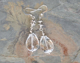 Dangly Quartz Earrings, Natural Stone Earrings, Silver Earrings, Clear Gemstone Earrings, Handmade Earrings, Teardrop Earrings, Simple