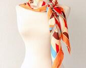 Silk scarf Geometric print colorful shawl Retro pattern stylish scarf Large head wrap Summer fashion Pure silk scarves Lightweight silk wrap