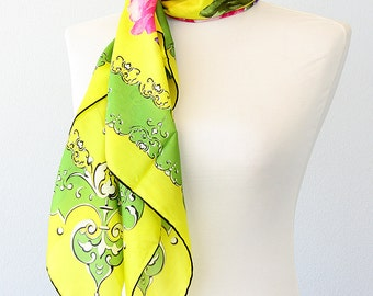 Silk scarf Floral silk shawl Silk head scarf Luxury gift for her Pure silk scarves Summer accessories Rose flowers Neon yellow green square