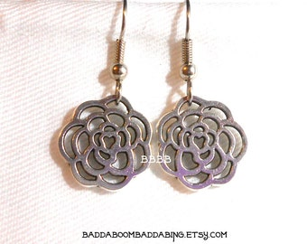 Silver Rose Earrings - Surgical Steel French Hooks